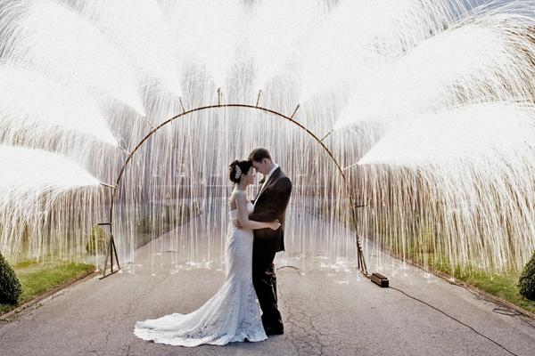 Fireworks Fountain Archway Wedding Couple